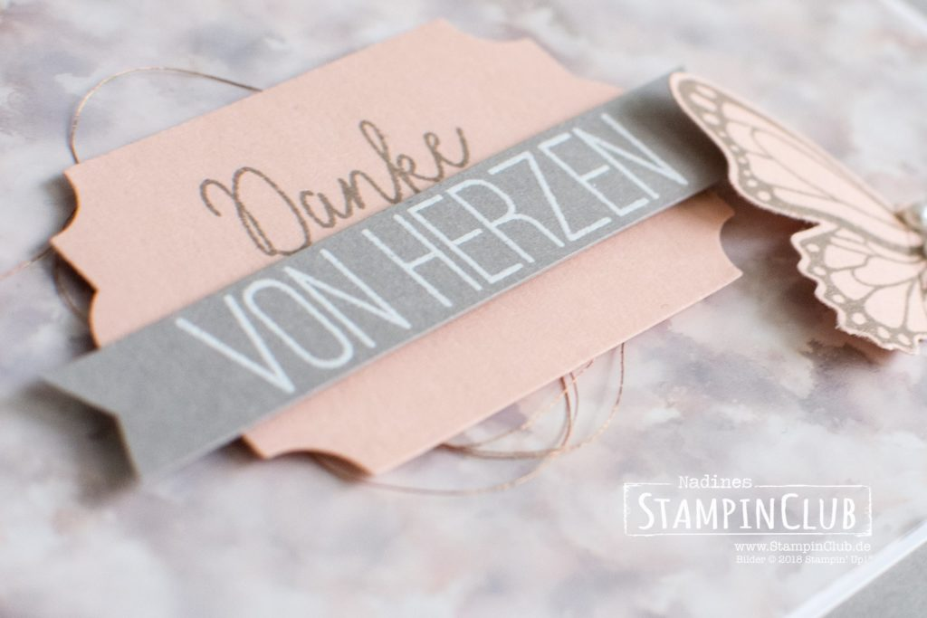 Stampin' Up!, StampinClub, Polished Stone Technik, Schmetterlingsglück, Butterfly Gala, Stanze Schmetterling, Butterfly Duet Punch