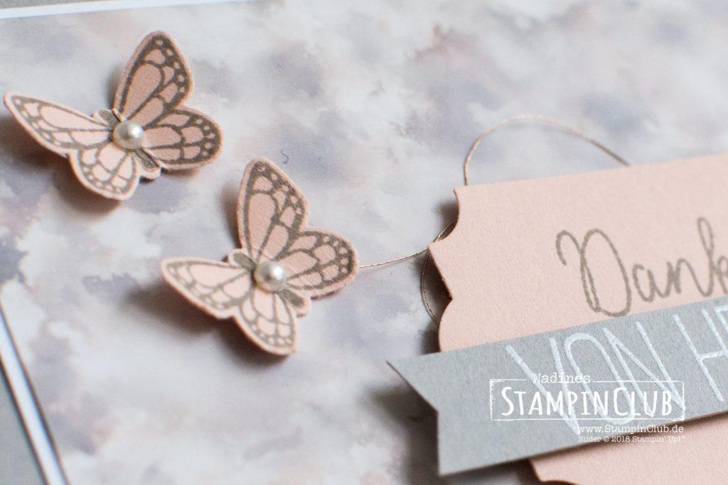 Stampin' Up!, StampinClub, Polished Stone Technik, Schmetterlingsglück, Butterfly Gala, Stanze Schmetterling, Butterfly Duet Punch