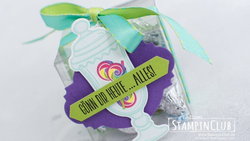 Stampin' Up!, StampinClub, Designerpapier Süße Überraschung, How Sweet It is DSP, Framelits Formen Bonbonglas, Jar of Sweets Framelits Forms, Kuchen ist die Antwort, Piece of Cake