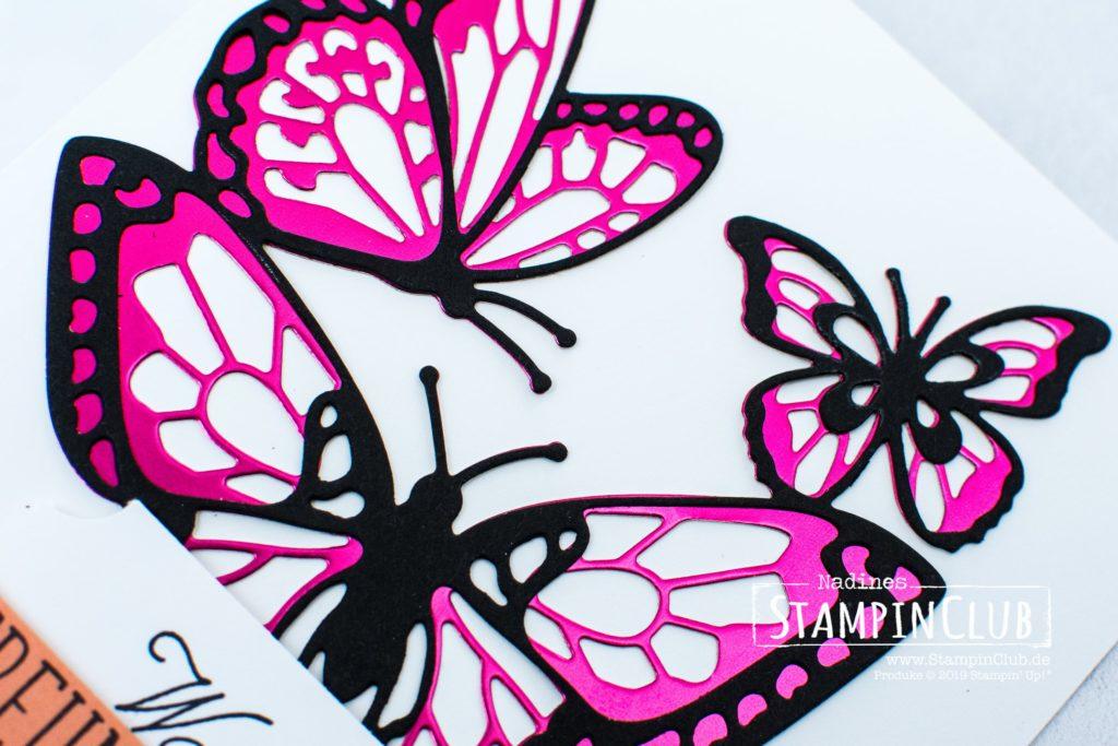 Stampin' Up!, StampinClub, Voller Schönheit, Beauty Abounds, Thinlits Formen Schöne Schmetterlinge, Butterfly Beauty Thinlits Dies, Metallic-Folienpapier in Grapefruit und Kussrot, Grapefruit Grove and Lovely Lipstick Foil Sheets
