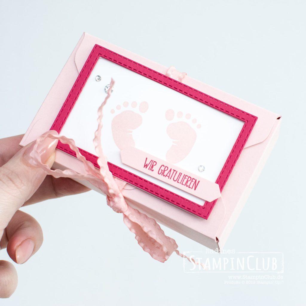 Stempelset First Steps, Stampin' Up!, StampinClub, First Steps, Verpackung, Box, Stanz- und Falzbrett für Umschläge, Envelope Punch Board, Geburt, Baby