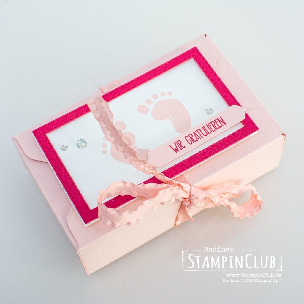 Stampin' Up!, StampinClub, First Steps, Verpackung, Box, Stanz- und Falzbrett für Umschläge, Envelope Punch Board, Geburt, Baby