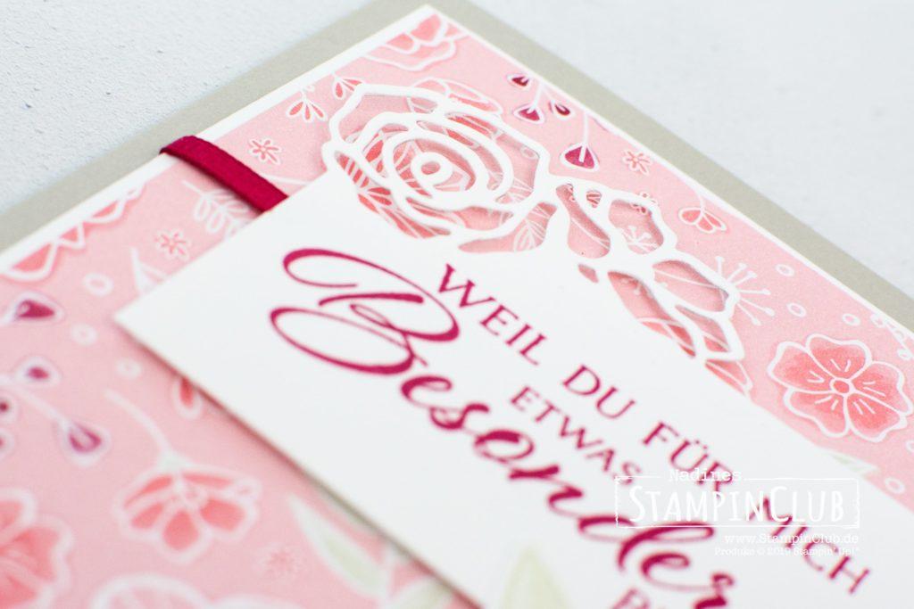 Stampin' Up!, StampinClub, Definition von Glück, Forever Lovely, Designerpapier In Liebe, All my Love DSP, Edgelits Formen Bildschöne Blüten, Lovely Flowers Edgelits Dies