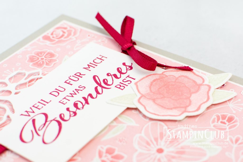 Stampin' Up!, StampinClub, Definition von Glück, Forever Lovely, Designerpapier In Liebe, All my Love DSP, Edgelits Formen Bildschöne Blüten, Lovely Flowers Edgelits Dies