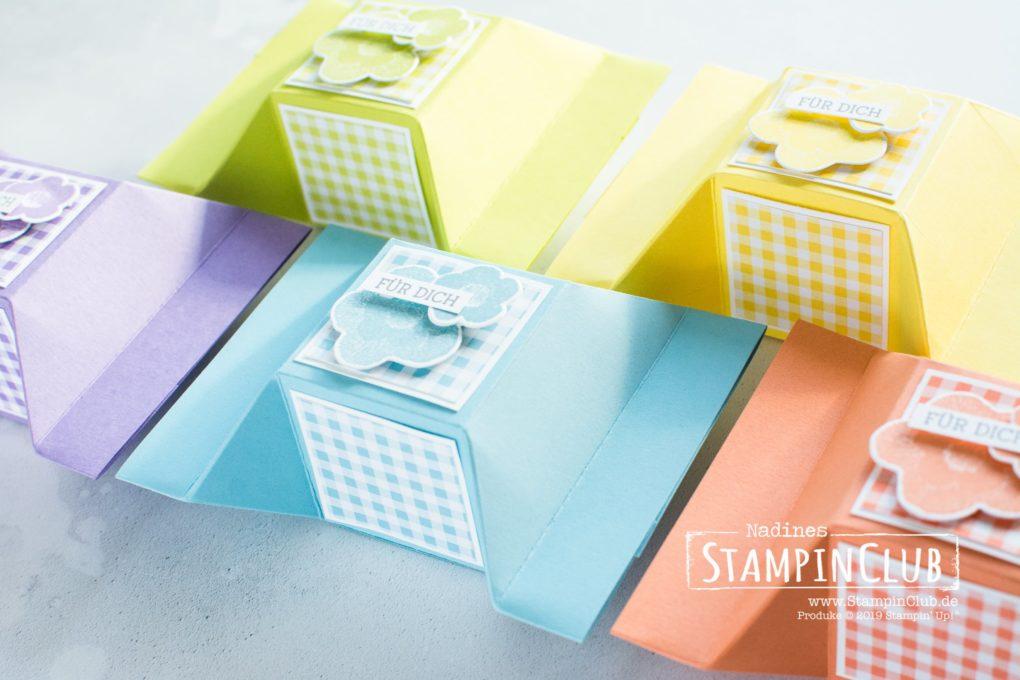 Stampin' Up!, Bon Bon Verpackung, selbstschließend, Geschickt Gestickt, Needle & thread, Framelits Formen Stickereien, Needlepoint Elements Framelits Dies