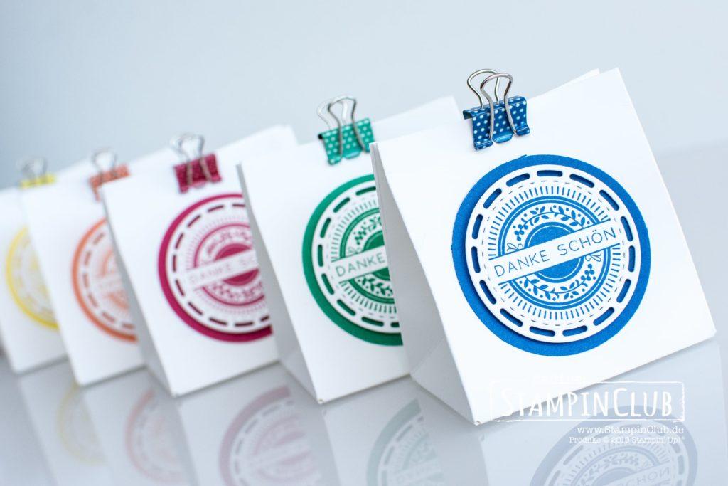 Geschenktüten, Stampin' Up!, StampinClub, Bestickte Grüße, Framelits Bestickte Etikette, In Color 2018-2020