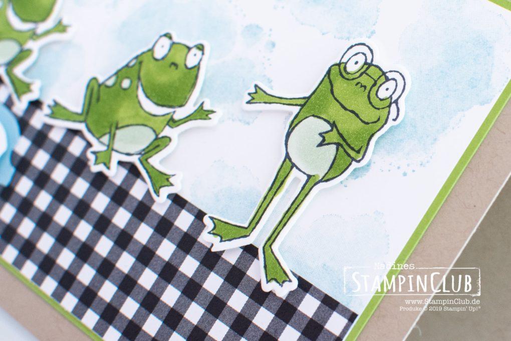 Stampin' Up!, StampinClub, Froschkönig, Framelits Formen Am Froschteich, Hop Around Framelits Dies, Stanze Wunsch-Etikett, Story Label Punch, Werkstattworte, Geared Up Garage