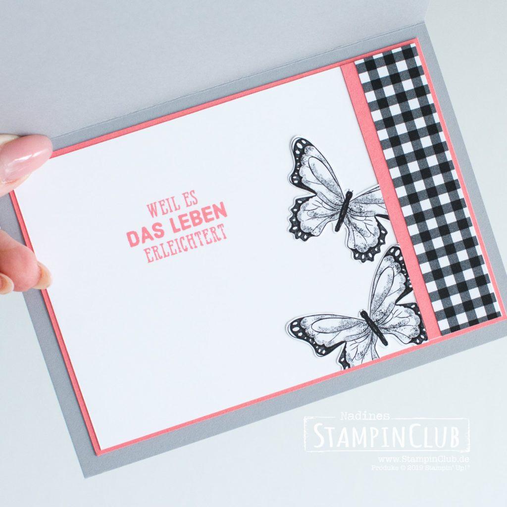 Stampin' Up!, StampinClub, DP Schmetterlingsvielfalt, Wortreich, Framelits Formen Stickmuster
