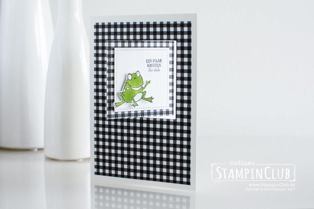 Stampin' Up!, StampinClub, Flip-Flop-Karte, Froschkönig, DP Schmetterlingsvielfalt, Stickmuster, Geburtstagsmix