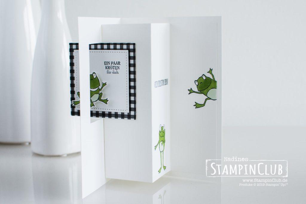 Flip-Flop-Karte, Stampin' Up!, StampinClub, Flip-Flop-Karte, Froschkönig, DP Schmetterlingsvielfalt, Stickmuster, Geburtstagsmix