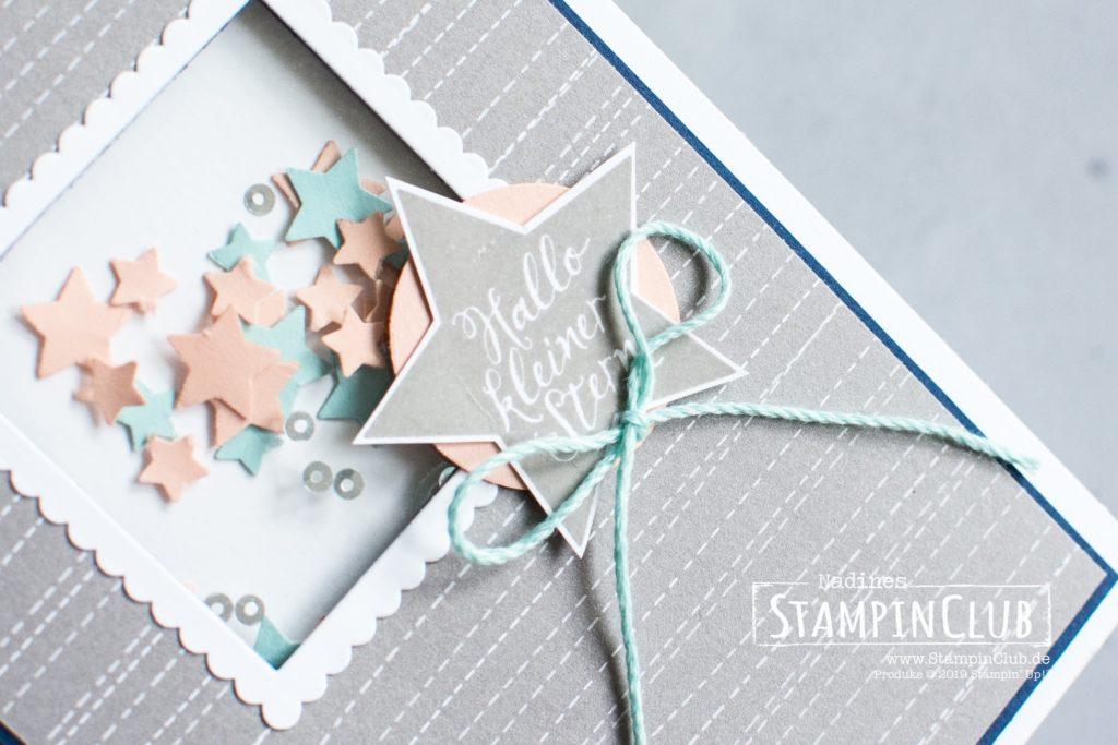 Sternstunden, Stampin' Up!, StampinClub, Shaker Card, Schüttelkarte, Sternstunden, Elementstanze Mond und Sterne, Lagenweise Quadrate