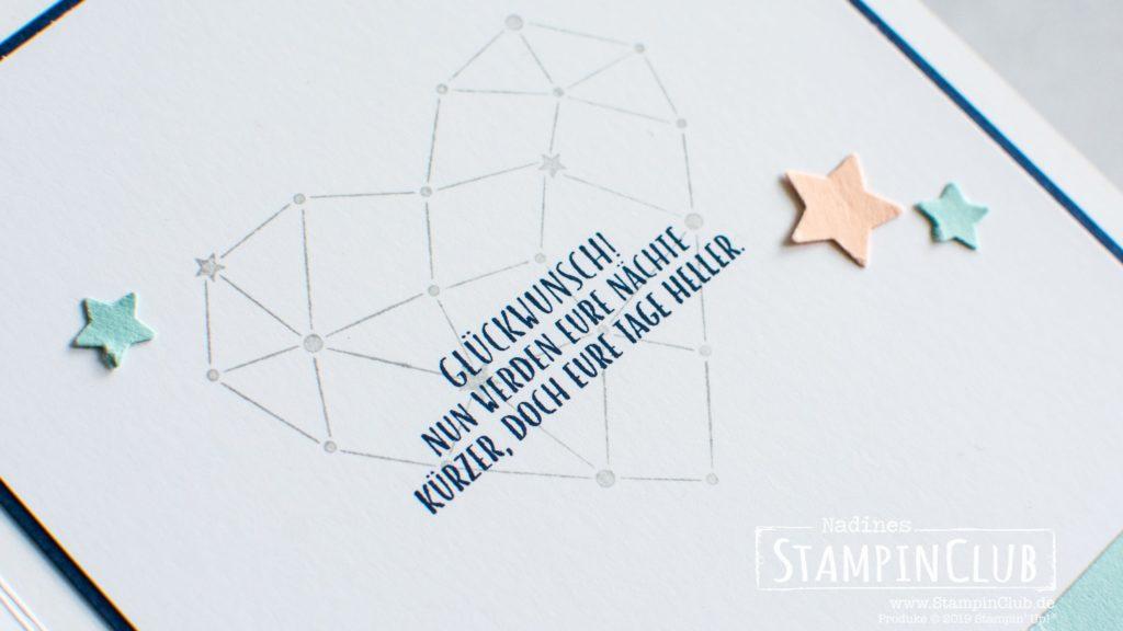 Stampin' Up!, StampinClub, Shaker Card, Schüttelkarte, Sternstunden, Elementstanze Mond und Sterne, Lagenweise Quadrate