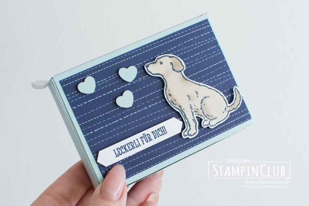 Stampin' Up!, StampinClub, Herz auf vier Pfoten, Elementstanze Hund, Anleitung, Stülp-Box Rechteckig