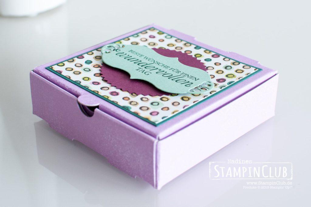 Geteilte Leidenschaft, Stampin' Up!, StampinClub, Wundervoller Kolibri, Pizzaschachtel, Besonderes Designerpapier Geteilte Leidenschaft