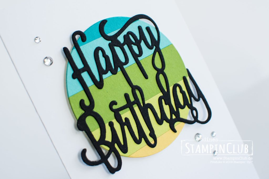 Stampin' Up!, StampinClub, Color Blocking, Happy Birthday Thinlits
