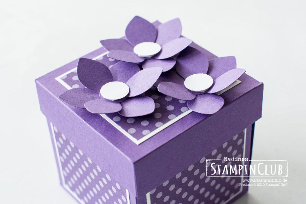 Stampin' Up!, StampinClub, Explosionsbox, Verpackung, Kuchen ist die Antwort