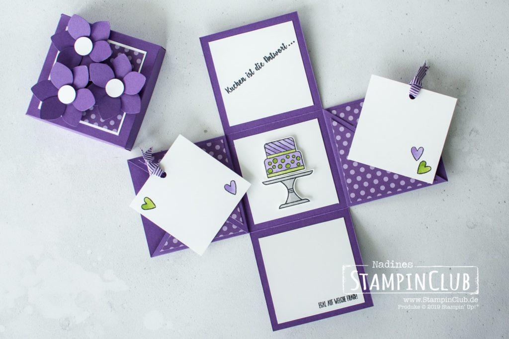 Explosionsbox, Stampin' Up!, StampinClub, Explosionsbox, Verpackung, Kuchen ist die Antwort