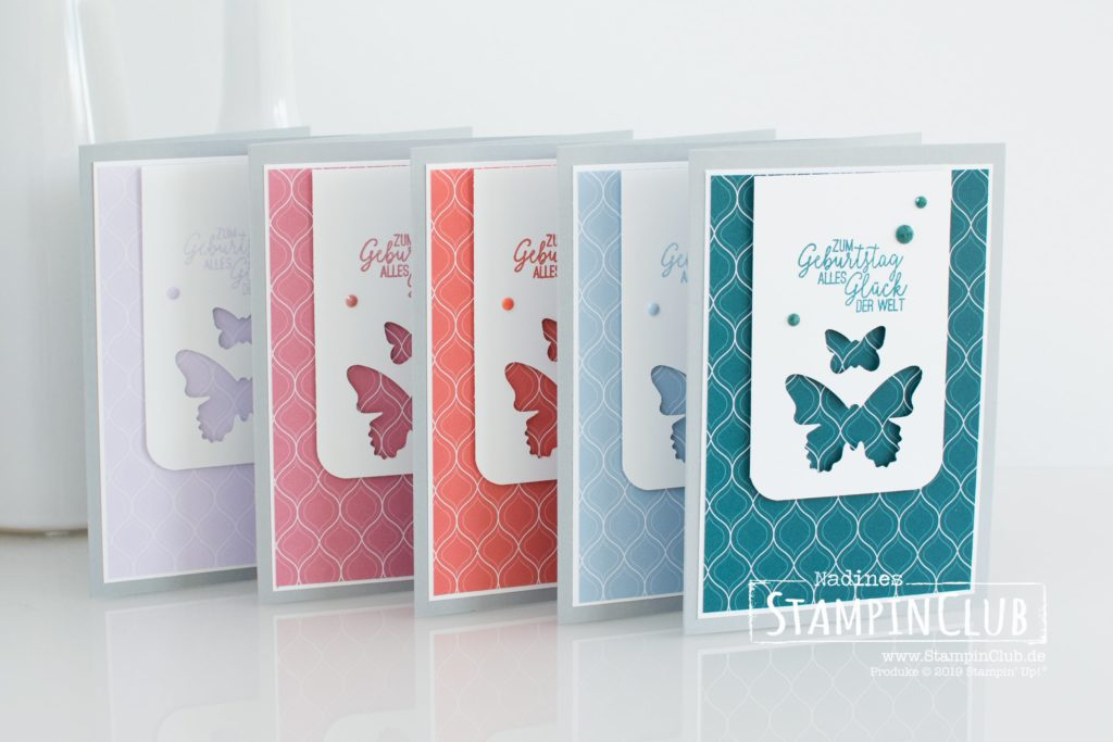 Stampin' Up!, StampinClub, Designerpapier In Color 2019-2021, 2019-2021 In Color DSP, Schmetterlingsglück, Stanze Schmetterlingsduett, Facettierte Akzente In Color 2019-2021, 2019-2021 In Color Faceted Dots, Dekorative Details Trio-Stanze