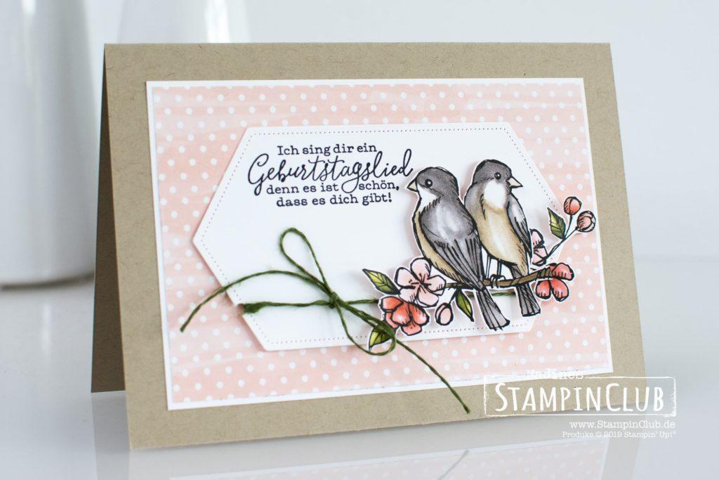 Stampin' Up!, StampinClub, Frei wie ein Vogel, Free as a bird, Stanzform Raffiniert bestickte Rahmen, Stitched Nested Labels Dies, Designerpapier Vogelgarten, Bird Ballad DSP