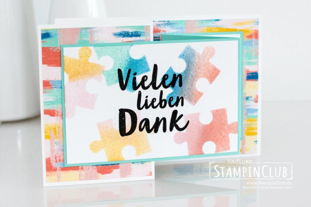 Stampin' Up!, StampinClub, Designerpapier L(i)ebe deine Kunst, Follow Your Art DSP, Vielen Dank, Puzzleteile
