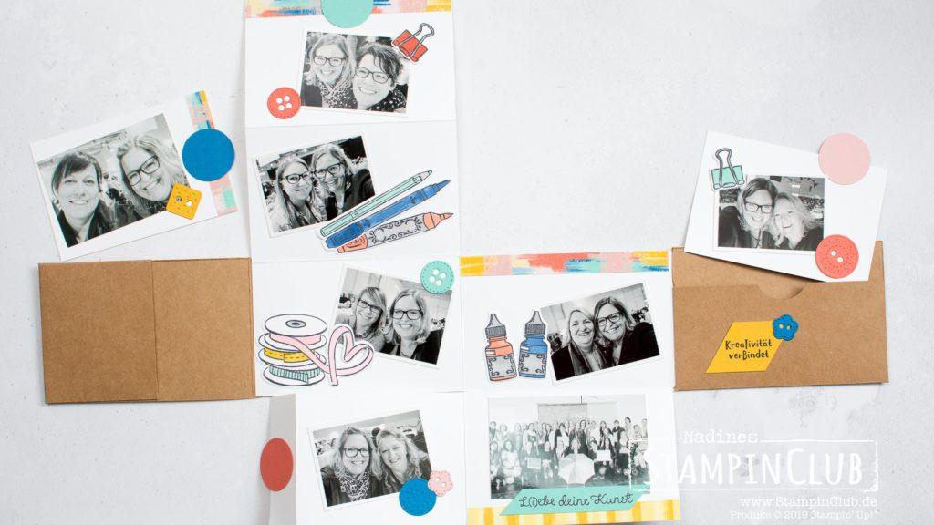 Stampin' Up!, StampinClub, Minialbum, Mini book, Mini-Versandksrtons, Mini Shipping Boxes, Designerpapier L(i)ebe deine Kunst, Kreativität verbindet, It Starts with art, Stanzformen Kundsthandwerk, Arts & Crafts Dies