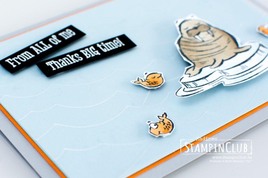 Stürmische See, Stampin' Up!, StampinClub, We'll Walrus be Friends, Prägeform Stürmische See 3D, High Seas 3D Embossing Folder, Stampin' Blends