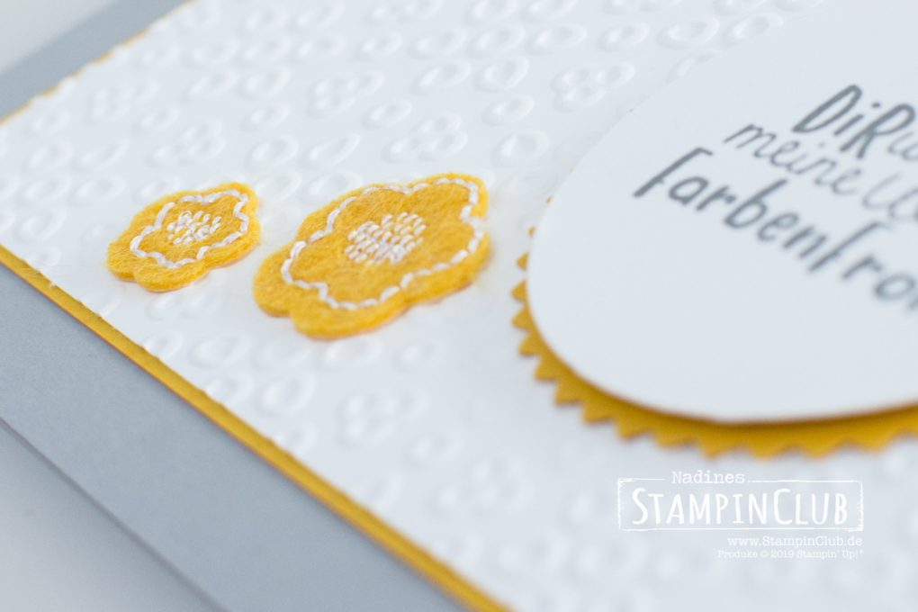 Stampin' Up!, StampinClub, Kreativität verbindet, Stanze Sonne, Kreativ-Set Accessoires L(i)ebe deine Kunst, Follow your Art Embellishment Kit, Prägeform Lochspitze, Eyelet Lace, Embossing Folder