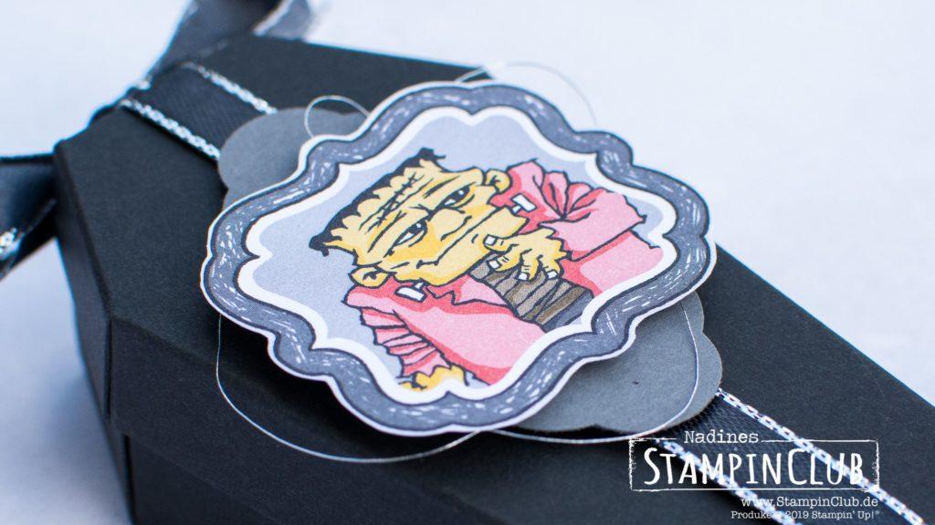 Stampin' Up!, StampinClub, Leckereien-Schachteln in Sargform, Coffin Treat Boxes, Designerpapier Monsterparty, Monster Bash DSP