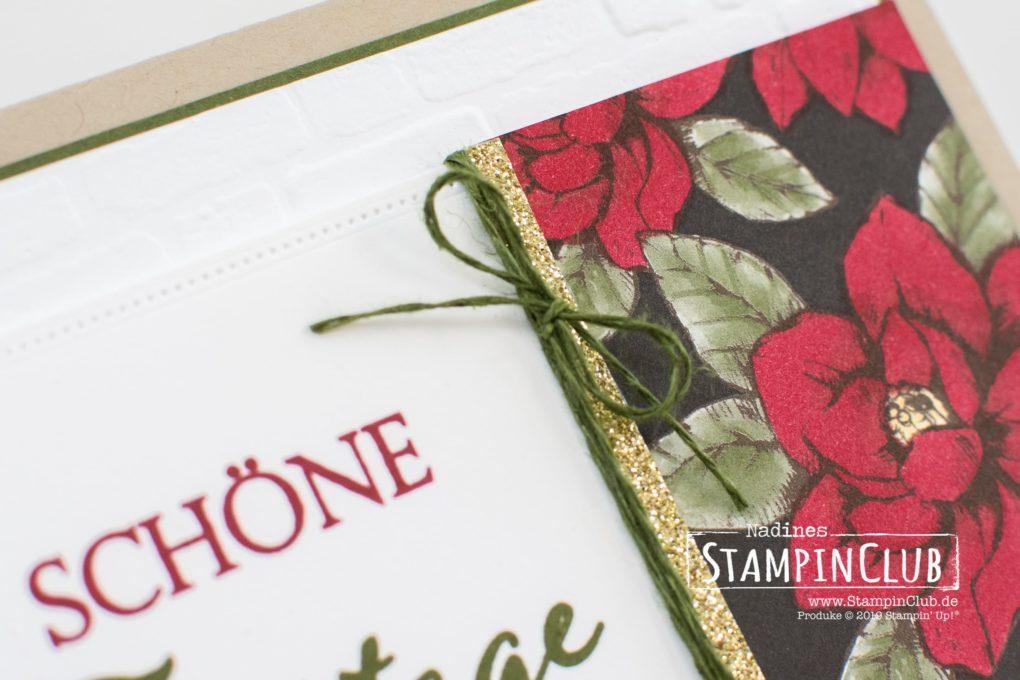 Stampin' Up!, StampinClub, Weihnachtliche Vielfalt, Designerpapier Magnolienweg, Prägeform Mauerwerk 3D, Stanzformen Raffiniert bestickte Rahmen