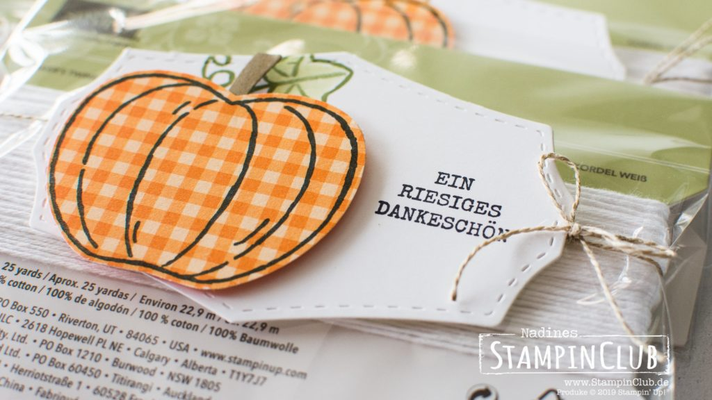 Stampin' Up!, StampinClub, Goodies, Ernte-Gruß-Fest, Harvest Hellos, Elementstanze Apfel, Apple Builder Punch, Klassisches Etikett