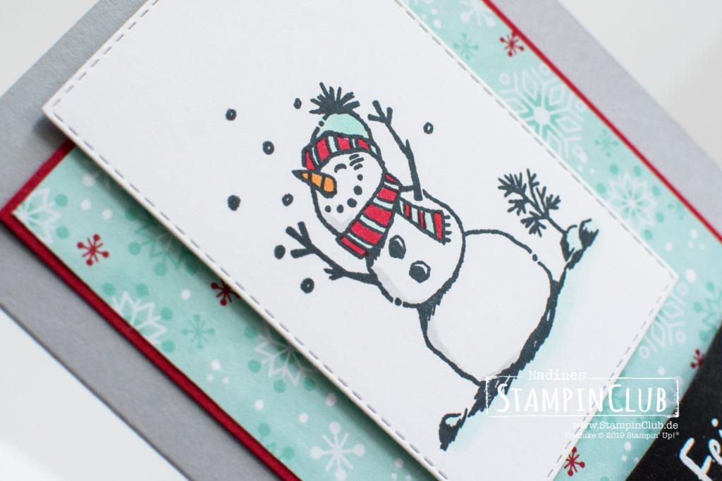 Stampin' Up!, StampinClub, Frostige Grüße, Snowman Season, Besonderes Designerpapier Hurra, es schneit!, Let it snow Speciality DSP