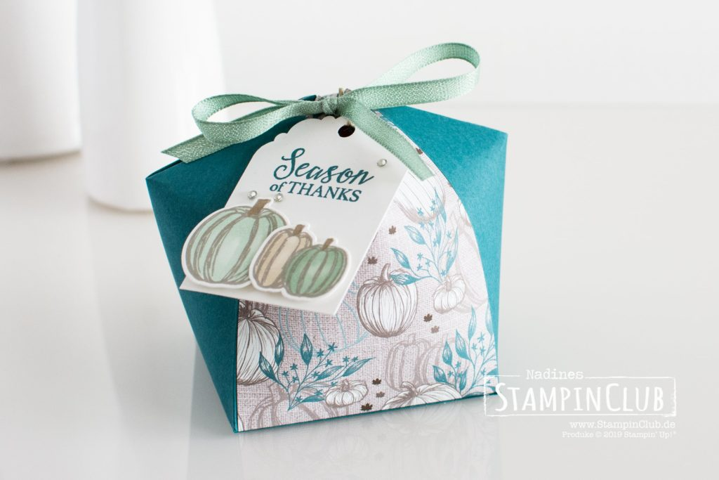 Stampin' Up!, StampinClub, Dome box, Kuppel-Box, Verpackung, Designerpapier Herbstfreuden, Come to gather DSP, Gather together, Stanzformen Herbstlaub, Gathered Leaves Dies