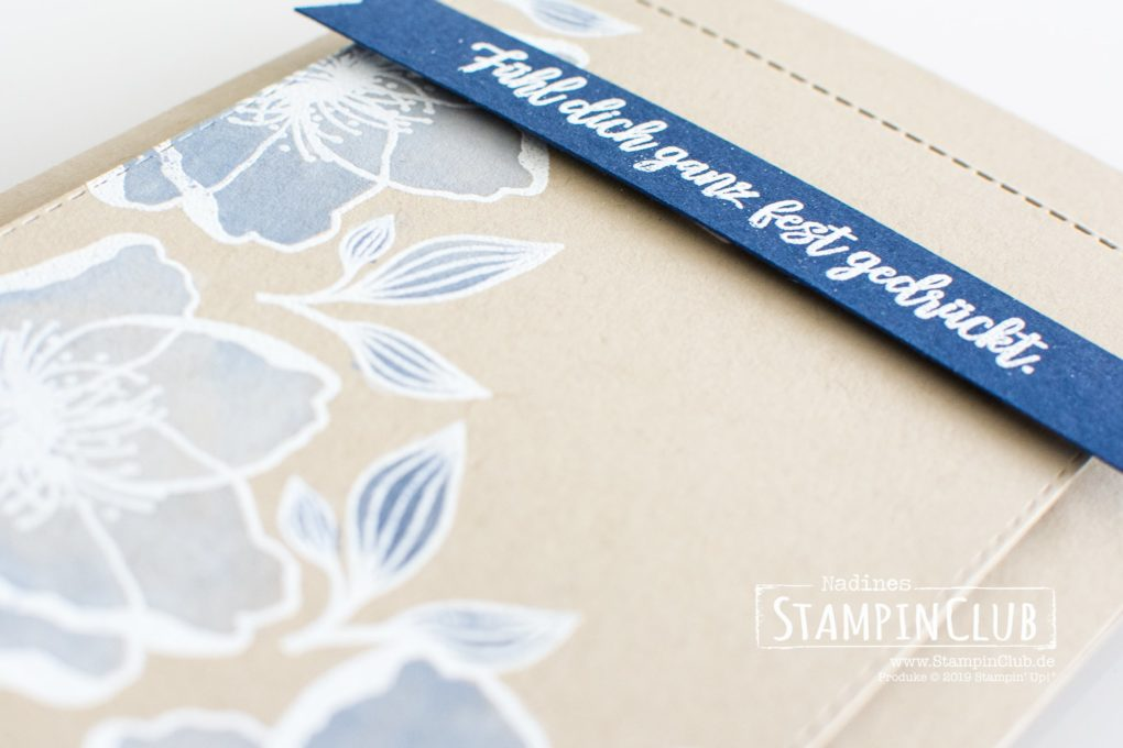 Stampin' Up!, StampinClub, White Wash Technik, White Washing Technique, Blütenzauber, Beautiful Promenade, Bestickte Rechtecke