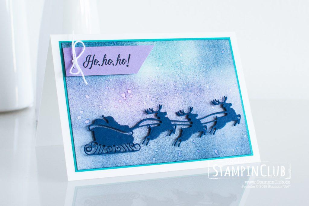 Stampin' Up!, StampinClub, Weihnachtskarte, Sack voller Wünsche, Holly Jolly Christmas, Stanzformen Freude zum Fest, Jolly Season Dies, Schwammwalze