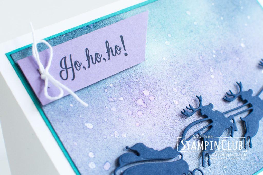 Freude zum Fest, Stampin' Up!, StampinClub, Weihnachtskarte, Sack voller Wünsche, Holly Jolly Christmas, Stanzformen Freude zum Fest, Jolly Season Dies, Schwammwalze