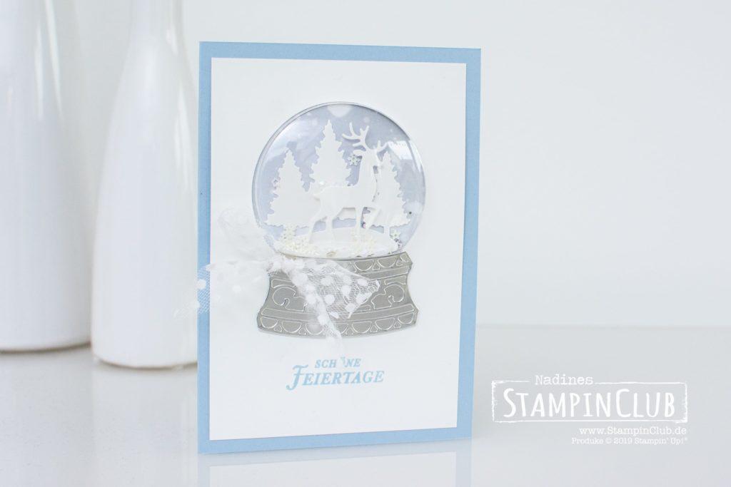 Stampin' Up!, StampinClub, Stanzformen Schneekugel, Snow Globe Scenes Dies, Kranz voller Grüße, Tidings all Around
