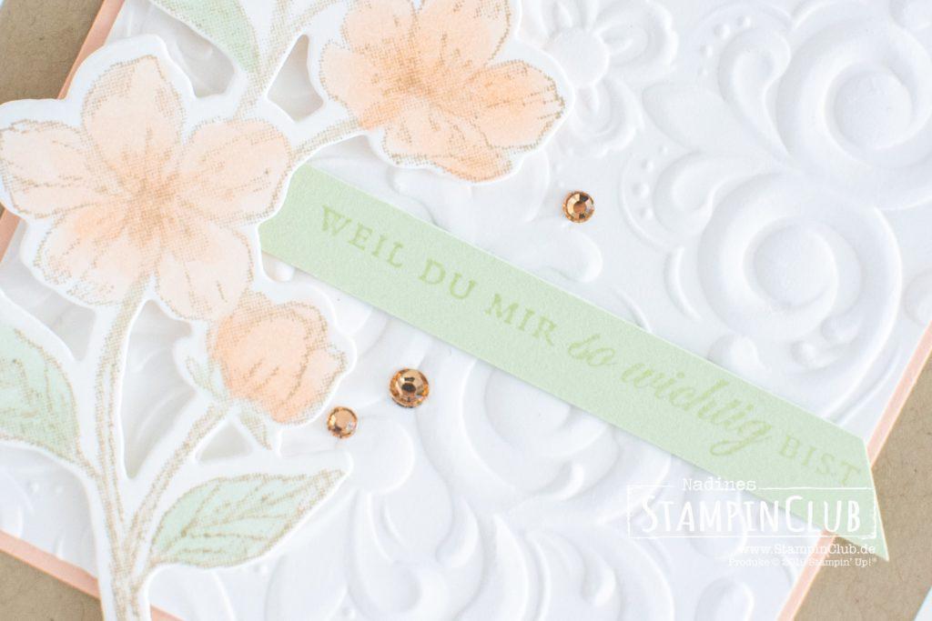Ewige Blüten, Stampin' Up!, StampinClub, Ewige Blüten, Forever Blossoms, Stanzformen Kirschblüten, Cherry Blossoms Dies, 3D Prägeform Pariser Schnörkel, Parisian Flourish 3D Embossing Folder
