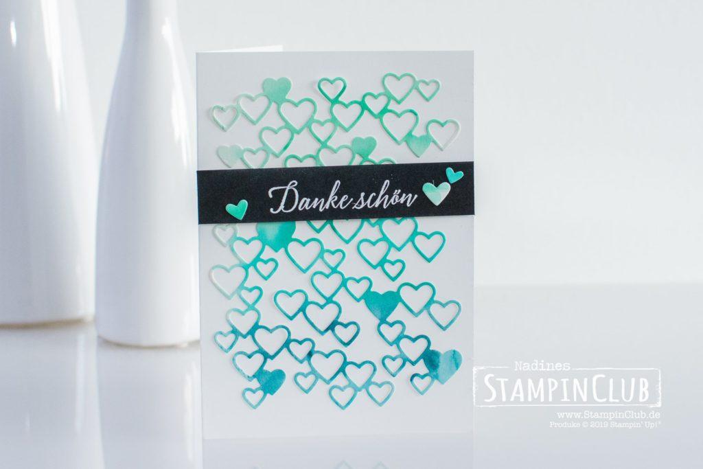 Stampin' Up!, StampinClub, Stanzform Herzregen, Detailed Hearts Dies, Tropenflair