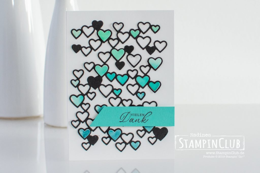 Stampin' Up!, StampinClub, Stanzform Herzregen, Detailed Hearts Dies, Tropische Träume, Timeless Tropical