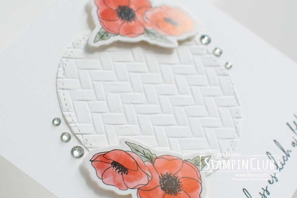Stampin' Up!, StampinClub, Zum Geburtstag für dich, Happy Birthday to You, Akzente Mohnblütenzauber, Peaceful Poppies Elements, 3D Prägeform Strandmatte, Coastal Weave 3D Embossing Folder