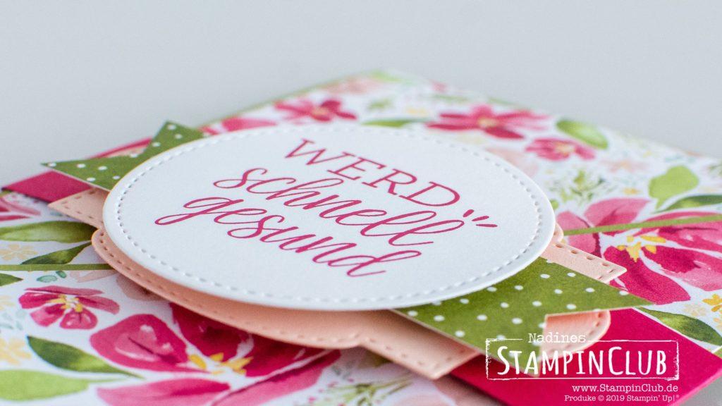 Stampin' Up!, StampinClub, Designerpapier Mit Stil und Klasse, Best Dressed DSP, Genesungswünsche, Fun Fold, Diagonale Faltkarte