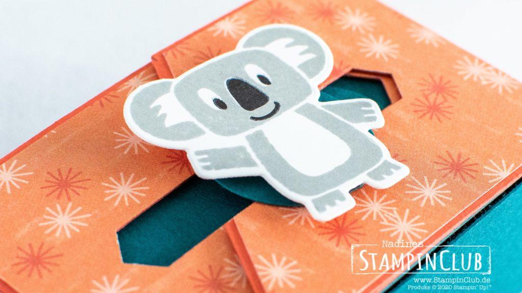 Stampin' Up!, StampinClub, Verpackung mit Schiebeverschluss, Bonanza Buddies, Designerpapier Bunter Geburtstag, Birthday Bonanza DSP, Stanzformen Bunter Spass