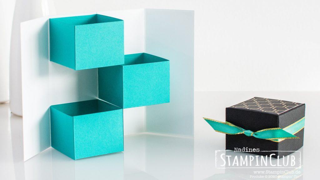 Stampin' Up!, StampinClub, 3er Stepper Box, Verpackung, Anleitung, Besonderes Designerpapier Bienengold, Golden Honey Speciality DSP