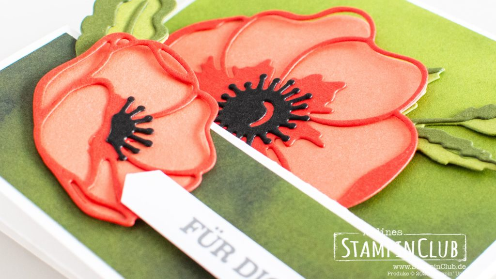 Stampin' Up!, StampinClub, Designerpapier Mohnblütenzauber, Peacefuk Poppies DSP, Stanzformen Mohnblüten, Poppy Moments Dies, Liebe Gedanken, Sending you Thoughts, Double Easel Card, Doppelte Staffelei Karte