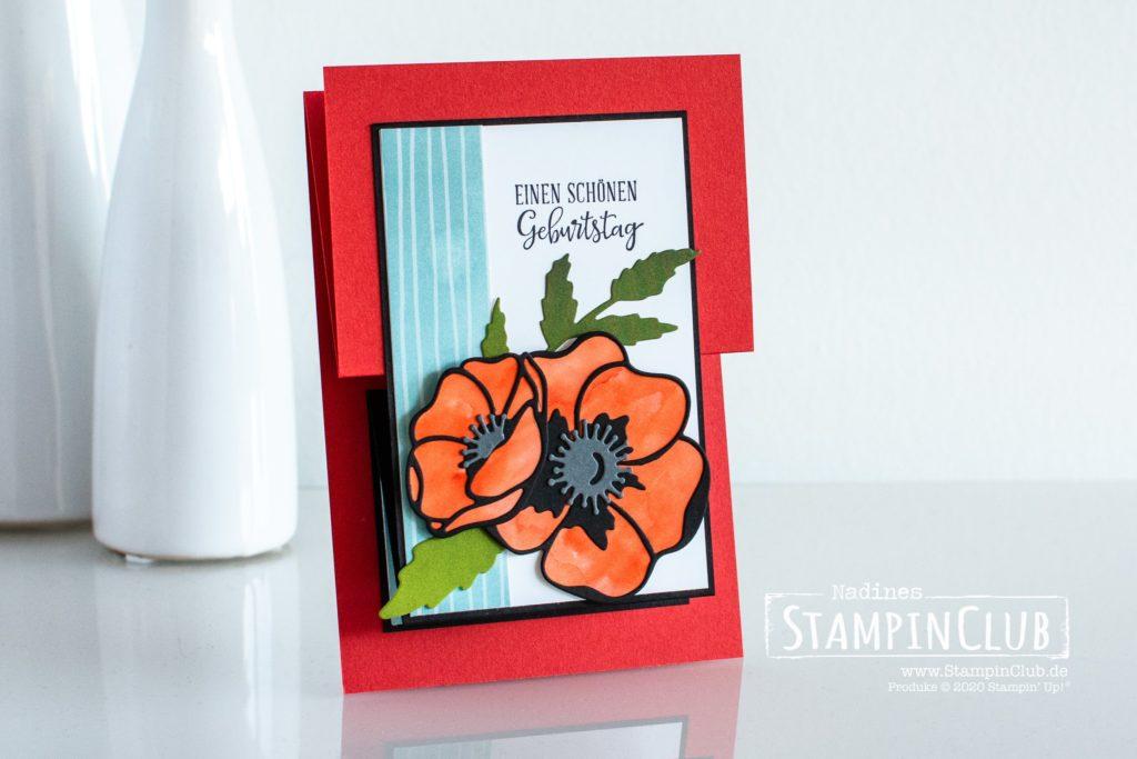 Stampin' Up!, StampinClub, Designerpapier Mohnblütenzauber, Besondere Momente, Stanzformen Mohnblüten