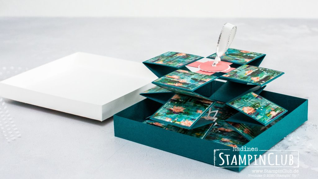 Stampin' Up!, StampinClub, Pull-Up-Karte, Anleitung, Lovely Lily Pad, Stanzformen Seerose, Lily Pad Dies, Designerpapier Seerosen-Sinfonie, Lily Impressions DSP