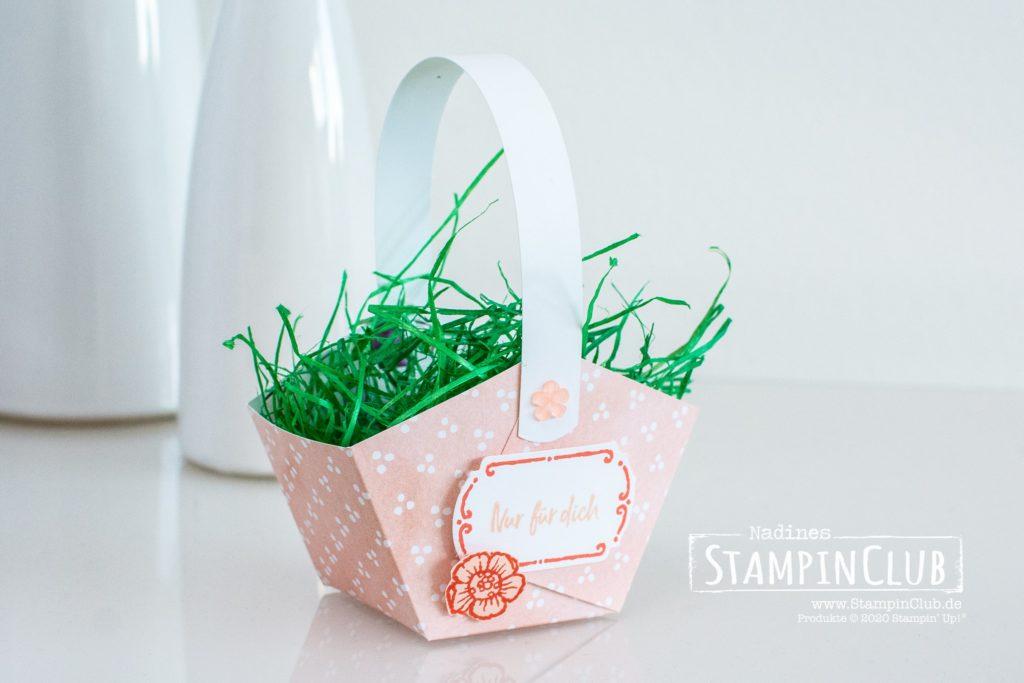 Stampin' Up!, StampinClub, Florale Etiketten, Tags in Bloom, Osterkorb, Osterkörbchen, Stanze Apartes Etikett, Designerpapier Mit Stil und Klasse