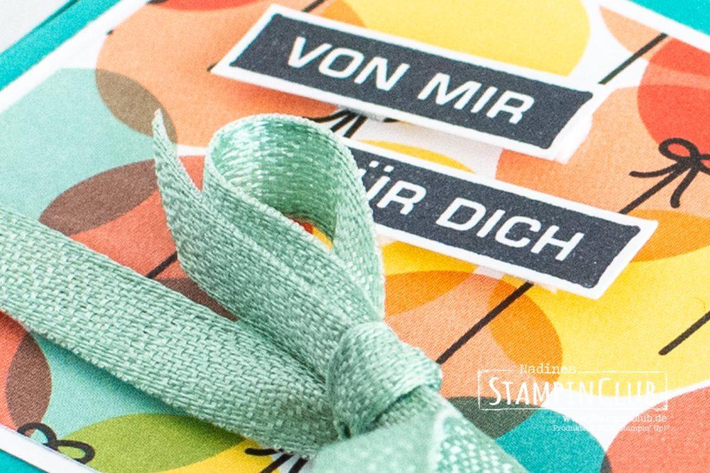Hanuta, Stampin' Up!, StampinClub, Designerpapier Bunter Geburtstag, Alles im Block, Selbstschließende Verpackung, Hanuta Verpackung