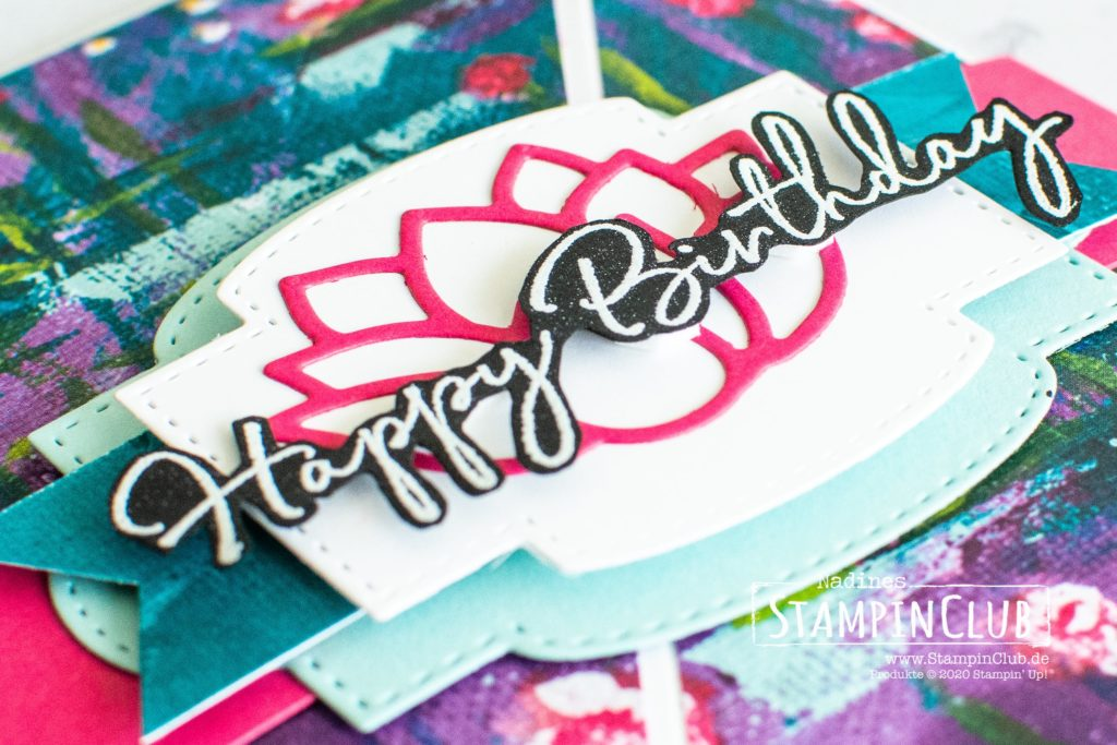 Stampin' Up!, StampinClub, Designerpapier Seerosen-Sinfonie, Lovely Lily Pad, Stanzformen Seerose, Stanzformen So hübsch bestickt, Happy Birthday to You, Diagonale Faltkarte