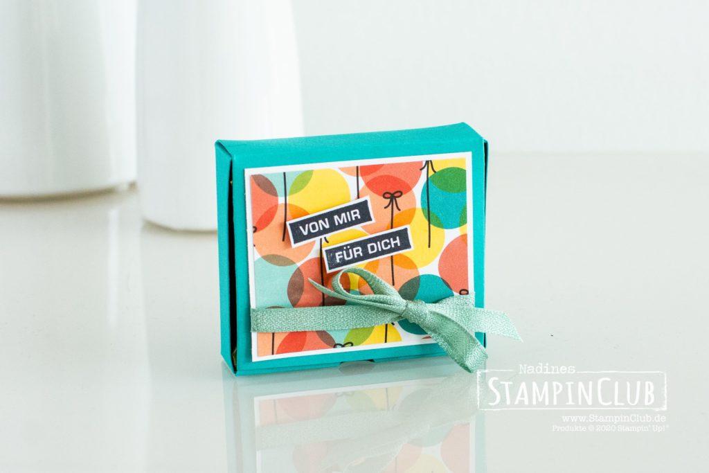 Stampin' Up!, StampinClub, Designerpapier Bunter Geburtstag, Alles im Block, Selbstschließende Verpackung, Hanuta Verpackung